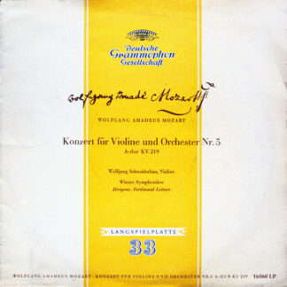 """Wolfgang Amadeus Mozart, Wolfgang Schneiderhan, Wiener Symphoniker, Ferdinand Leitner - Konzert Für Violine Und Orchester Nr. 5 A-dur KV 219 (10"""", Mono)"""
