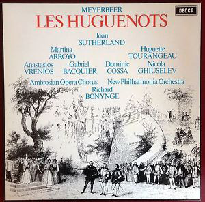 Meyerbeer* - Sutherland* | Arroyo* | Tourangeau* | Vrenios* | Bacquier* | Cossa* | Ghiuselev* | Ambrosian Opera Chorus* | New Philharmonia Orchestra | Bonynge* - Les Huguenots (4xLP + Box)